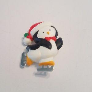 Vintage Hallmark Cards Pin Penguin Ice Skating Chr